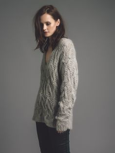 Women's cotton mohair textured cable deep V-neck jumper. Sartorial silhouette Hand knitted made in Britain. Cable Sweater, Cable Knit, Hand Knitting, Knitting Sweaters, Androgynous, Knitwear, Hair Makeup, Feminine, Photoshoot