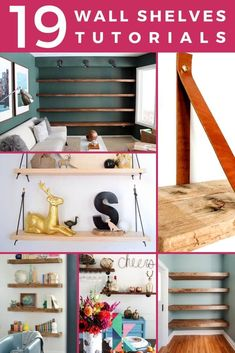 Floating shelves are an awesome design element. They are so versatile and you will be shocked at how easy some of these shelves are to DIY. These 19 tutorials are inspiring us to add them to our kitchen, but these would also be perfect for a bedroom, bathroom, or any other space! #easyDIYfloatingshelves #bathroomfloatingshelves #bedroomfloatingshelves #floatingshelvesoffice #floatingbookshelves #floatingshelveswithbrackets #floatingbookshelvesplans #howtobuildfloatinghelves
