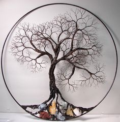 Wire Tree Of Life Ancient Spirit sculpture with natural Calcites, original Art 16 wall hanging decor. $859.00, via Etsy.