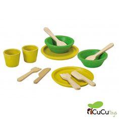 Platos y cubiertos para jugar, de madera ecológica