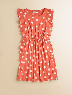DKNY - Girl's Dotted Pinafore Dress - Saks.com