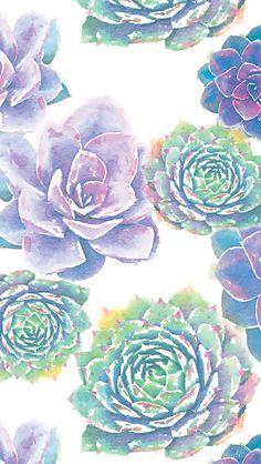 January-smartphone-background-watercolor-succulents.png 640×1,135 pixels