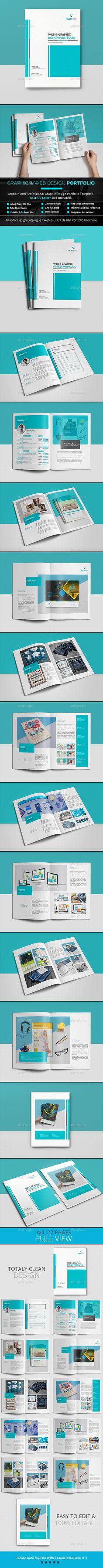 Graphic & Web Design Portfolio Template InDesign INDD - A4 & US Letter Size - 22 Unique Pages