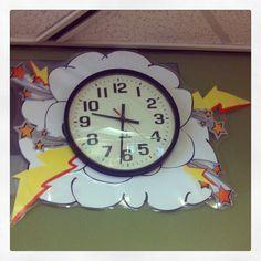 Clock in superhero themed classroom - decorationdiyroom. Superhero School Theme, Superhero Room, School Themes, Superhero Ideas, School Ideas, New Classroom, Classroom Displays, Classroom Themes, Class Decoration