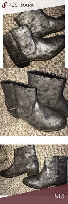 Route 66 LIKE NEW booties Size 9 Silver metallic and black in color. Zip on one side. Size 9. Like new condition! Route 66 Shoes Ankle Boots & Booties