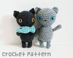 crochet pattern - kitty feast amigurumi - kawaii cats stuffed animal fish plushie toy dolls - (instant download) on Etsy, $5.42 AUD
