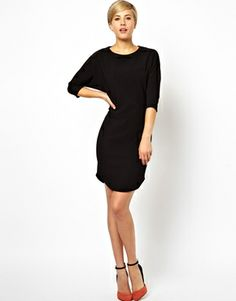 Image 4 of ASOS Pencil Dress In Texture With Batwing Sleeve