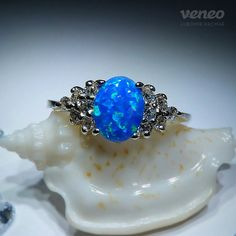 Princess. Silver or Gold Opal and Zircon Ring all sizes by Veneo, $77.00