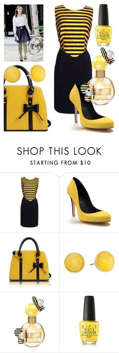 """Bumblebee"" by elenp80 ❤ liked on Polyvore featuring Moschino, Shoes of Prey, Kate Spade, Marc Jacobs and OPI"