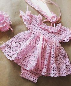 vestido de color rosa para las niñas de punto