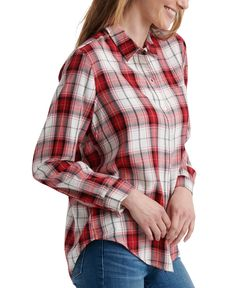 Lucky Brand Classic One-Pocket Plaid Shirt - Medium Red Plaid Shirt Outfits, Pajama Romper, Unisex Baby Clothes, Jacket Dress, Baby Shop, Lucky Brand, Leggings Are Not Pants, Pocket