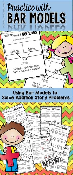 Go Math Using Bar Models to Solve Addition Problems * Differentiated Math Teacher, Math Classroom, Teaching Math, Teacher Stuff, Classroom Ideas, Math Strategies, Math Resources, Math In Focus, 2nd Grade Activities