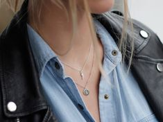 Missoma - Sterling Silver Pave Lightning Charm Necklace and Initial Charm Necklace with Bobble Chain