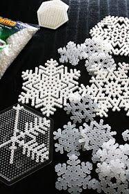 Perler bead snowflakes