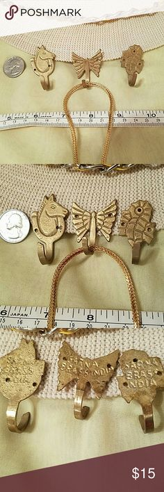 🌺REDUCED🌺VINTAGE SARNA BRASS JEWELRY HOOKS ALL 3 SARNA BRASS INDIA Hooks for jewelry or any other use of your Choice! REALLY CUTE Minature Horse, Butterfly and a Seahorse hook with pre-drilled holes for hanging on Wall or shelves, etc.! Hung chain not included. 🌺Offers Welcomed🌺 SARNA BRASS Accessories