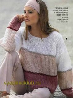 Knit This Cozy Pullover With Sweater Knitting Patterns, Knitting Designs, Knit Patterns, Hand Knitting, Knitwear Fashion, Sweater Fashion, Color Blocking Outfits, Pullover Mode, Mohair Sweater