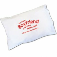 Personalised Sexiest Boyfriend Pillowcase - MustGet.co.uk - Things you must get!  Every man wants to know his girl thinks he is sexy every once in a while. This Sexiest Boyfriend Pillowcase will remind him every night when he puts his head down what you think of him.