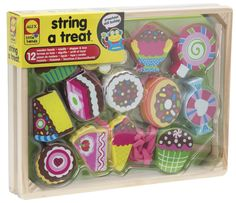 String chunky treats for fun! Includes 12 chunky wooden beads, wooden needle, cotton lace & stopper!