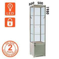 LED Glass Trophy Cabinet comes with lockable glass doors and lockable cupboard. LED lights and toughened glass for safety.