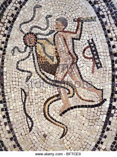 Hercules fighting the Lernaen Hydra, mosaic from the house of the Labours of Hercules, Roman city of Volubilis, - Stock Image