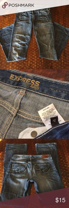 """Express bootcut jeans, size 2r, good condition! Express lightly distressed bootcut jeans, size 2r, 33.5"""" inseam, good condition! Express Jeans Boot Cut"""