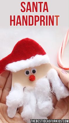 kids crafts recycled materials kinderhandwerk CHRISTMAS CRAFTS FOR KIDS: This Santa handprint card is so easy and cute to make! Kids will love giving this card out for Christmas. Easy for preschool or toddlers to make too with some help. Kids Crafts, Santa Crafts, Toddler Crafts, Preschool Crafts, Holiday Crafts, Kids Diy, Decor Crafts, Easy Crafts, Diy Decoration