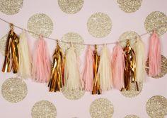 Pink Gold Garland Pink Tissue Tassel Garland by Twigsandtwirlsllc