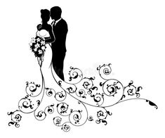 Illustration of A bride and groom wedding couple in silhouette with a white bridal dress gown holding a floral bouquet of flowers and an abstract floral pattern concept vector art, clipart and stock vectors. Bride And Groom Silhouette, Couple Silhouette, Wedding Silhouette, Silhouette Art, Wedding Groom, Wedding Couples, White Bridal Dresses, Groom Pictures, Couple Illustration