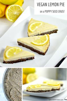 Vegan Lemon Pie on a Poppy Seed Crust ' WIN-WINFOOD.com In this #vegan lemon pie, fresh light filling contrasts with a rich poppy seed crust and creates an amazing explosion of flavors. #cleaneating #healthy #glutenfree