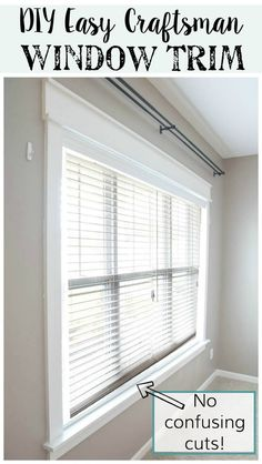 Give your windows a new look by changing up or adding new trim. Don't worry it's easy without confusing cuts. Get the tutorial for DIY Easy Craftsman Window Trim Tutorial Give your windows a Farmhouse Trim, Farmhouse Windows, Farmhouse Ideas, Farmhouse Style, Home Renovation, Home Remodeling, Craftsman Window Trim, Craftsman Style, Windows