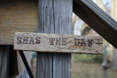 Hand Made Wood Burned Driftwood Seas The Day by BeachArtbychrissie, $10.00