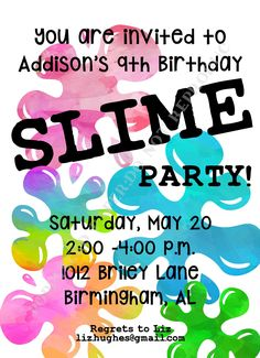 Slime Birthday Party- Kid Birthday Party Invitation- Personalized -Digital File or Printed Invitation- Double Sided by PoppySeedPaper on Etsy