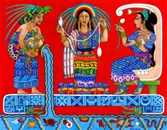 My favorite Ixchel modern art by Thalia Took showing her crone, mother and maiden stages. IxChel is often associated wit the sacred animal of the Mayans the Jaguar. She also is often shown with the rabbit, in her maiden form as the protector of mothers and children. She is shown as a crone with a snake on her head with a hunched back poring water from a pot. In Her role as the Goddess of love, She is sometimes shown sitting on a crescent moon symbol.