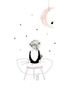 Zeichnung Mädchen mit Mond