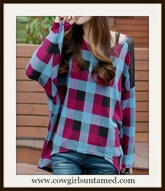 WESTERN COWGIRL TOP Black Blue Purple Plaid Batwing Top #pullover #top #plaid…