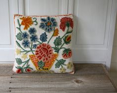 Vintage Crewel Work Pillow Cover by ShavingKitSuppplies on etsy