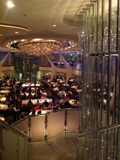 The main dining room on Celebrity Reflection. & The wine