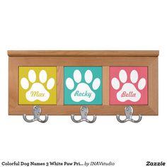 Colorful Dog Names 3 dog leash holder White Paw Prints Coat Rack