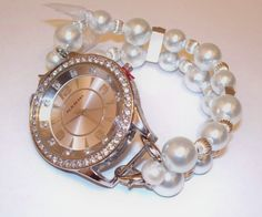 Pearl Interchangeable Beaded Watch Band and Face by BeadsnTime, $30.00