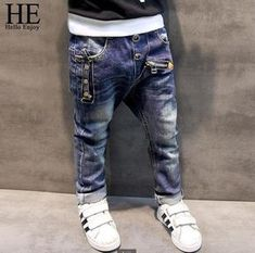 HE Hello Enjoy Boys pants jeans 2017 Fashion Boys Jeans for Spring Fall Children's Denim Trousers Kids Dark Blue Designed Pants - Kid Shop Global - Kids & Baby Shop Online - baby & kids clothing, toys for baby & kid Baby Outfits, Kids Outfits, Boys Pants, Girls Jeans, Skinny Pantalon, Moda Jeans, Baby Shop Online, Kids Fashion Boy, Denim Pants