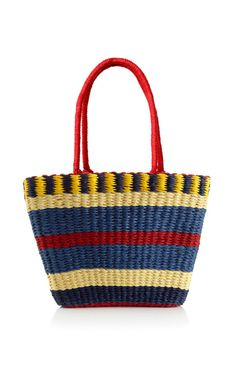 Navy Annabelle Basket In Straw by Serpui Marie for Preorder on Moda Operandi