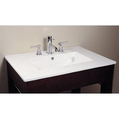 "Model #: 	CUT31WT Product Part: 	Vanity Top Dimensions: 	31W x 22D x 7.1H inches Color: 	White Material: 	Vitreous China Hardware: 	N/A Features: 	8"" Widespread Faucet Holes 1.8 in. Drain opening Overflow outlet MSRP: 	$395.00"