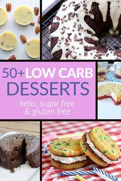 Got a sweet-tooth? Get tons of healthy desserts without all the junk! You'll love all our gluten free, sugar free & low carb desserts whether you love cakes, cookies or candies! Save this pin for later!