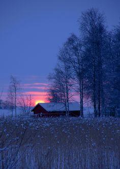 Winter sunset in Joensuu, Eastern Finland
