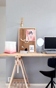 I LOVE LAMP  KOTIPALAPELI Cozy Office, Office Desk, I Love Lamp, Corner Desk, Repurposed, Rustic, Simple, Room, Inspiration