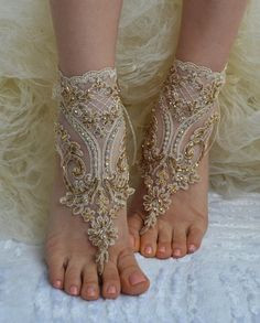 Handmade Champagne french Lace sandals Wedding by SewingAndPassion, $39.00