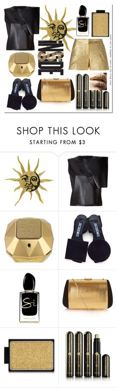 """""""black-gold"""" by elena-chizhik ❤ liked on Polyvore featuring J.W. Anderson, Lanvin, Paco Rabanne, Jacquemus, Giorgio Armani, Nina Ricci, Buxom, Guerlain, gold and black"""