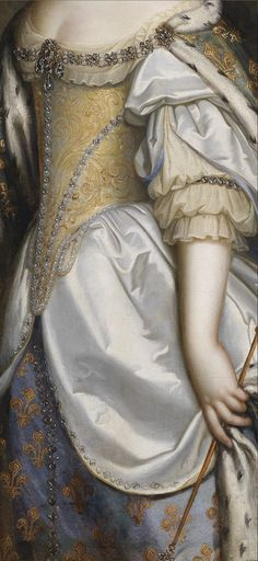 Charles Beaubrun, Portrait of Queen Maria Theresa of France, as patron of the Cathedral of Notre-Dame de Paris (details)  17th century