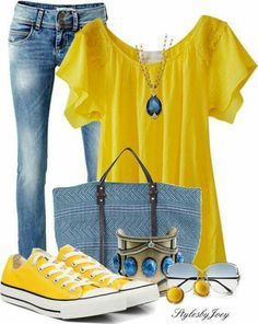 Such a bright, fun outfit!! Not so sure about the bag, but the shirt, pants and shoes are great.