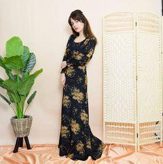 BohoKimono - Sustainable Clothing, Boho Clothing | BohoKimono Midi Dresses Uk, Lovely Dresses, 70s Vintage Fashion, 70s Fashion, Boho Kimono, Kimono Fashion, Long A Line Skirt, Black Floral Maxi Dress, Sustainable Clothing
